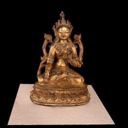 汕3307明铜镀金白度母像-三维模型